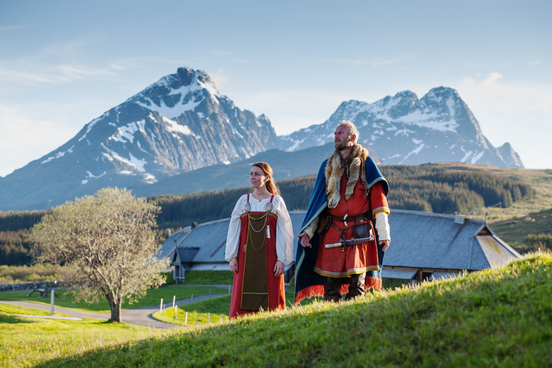 Viking woman and man on a hill
