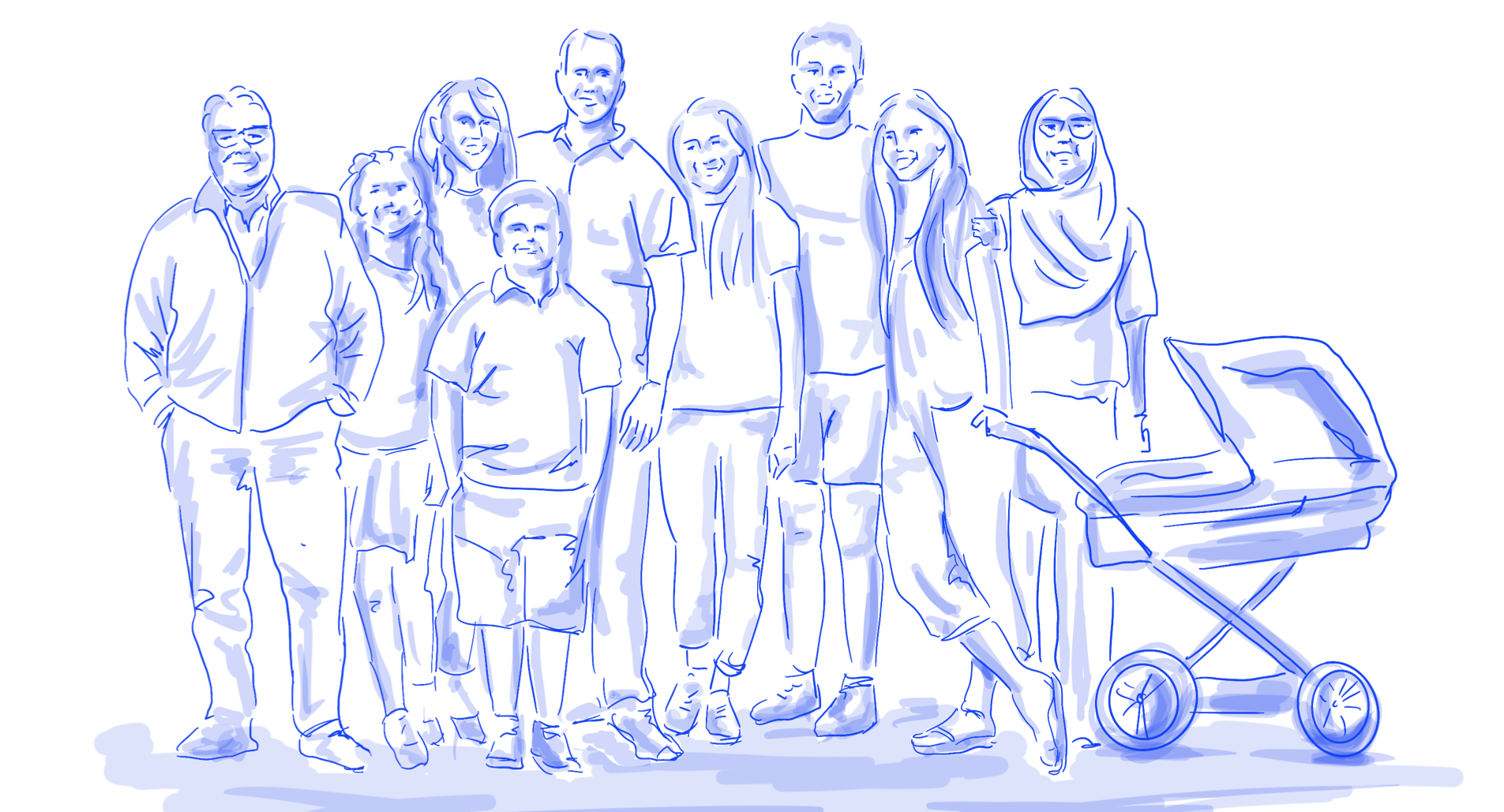 a drawing of a community with different people standing together
